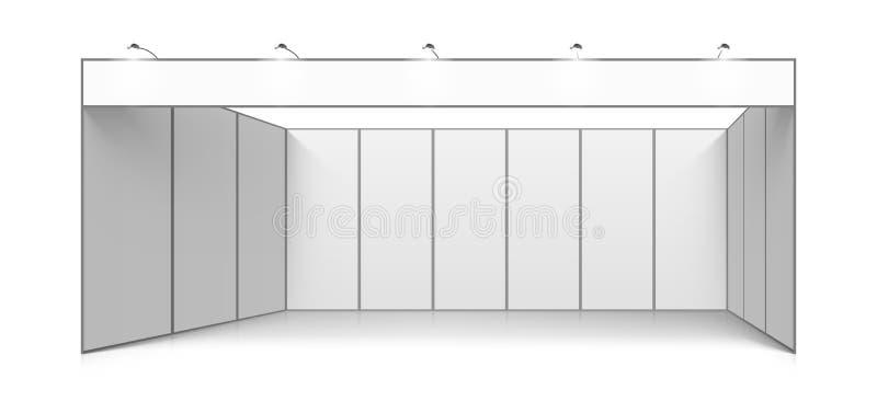 Suporte vazio do sistema da cabine da exposição do comércio do branco ilustração royalty free