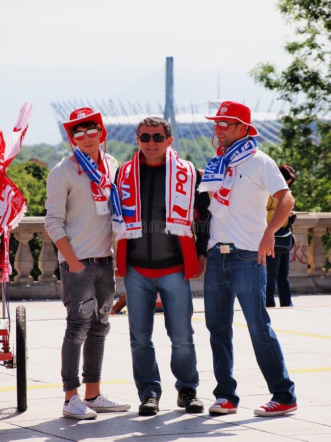 Suportes do futebol em Varsóvia imagens de stock royalty free