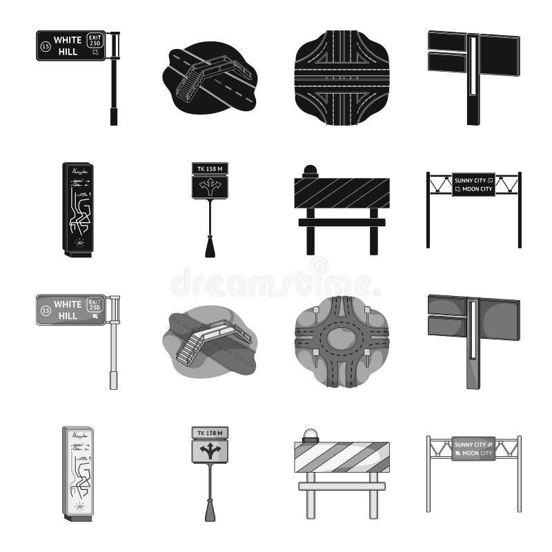 Suportes e sinais e o outro ícone da Web no estilo preto, monocromático Limitadores de ícones do tráfego na coleção do grupo ilustração royalty free