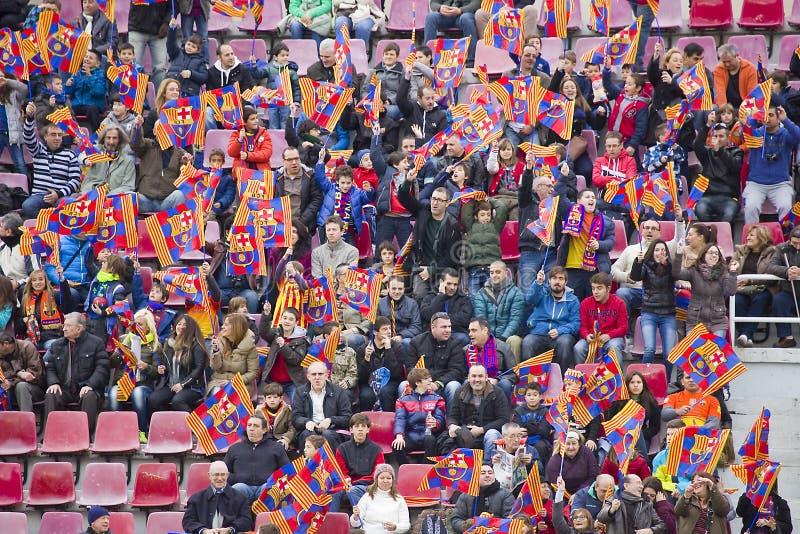 Suportes na sessão de formação do FC Barcelona foto de stock royalty free