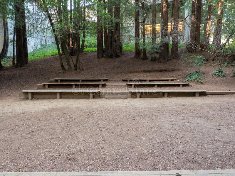 Suportes pequenos no anfiteatro de madeira fotografia de stock