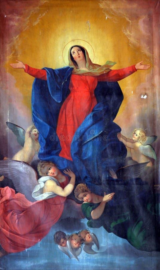 Suposición de la Virgen stock de ilustración