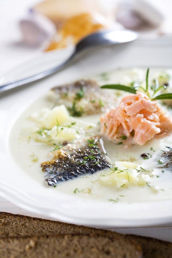 Suppe der weißen Fische lizenzfreies stockfoto