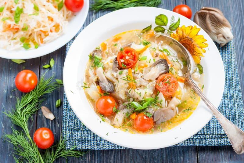 Suppe des Sauerkrauts mit Pilzen stockfotografie