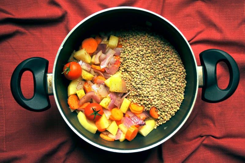 Suppe des strengen Vegetariers mit Linsen und frischem, organischem Gemüse in einer Wanne lizenzfreie stockfotos