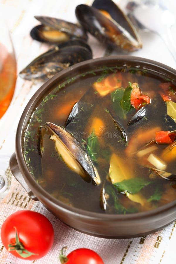 Suppe gebildet von den essbaren Meerestieren lizenzfreie stockfotografie