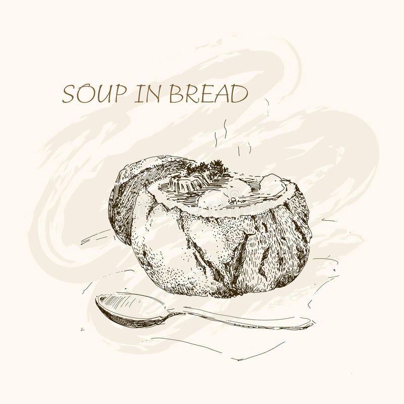 Suppe im Brot lizenzfreie abbildung