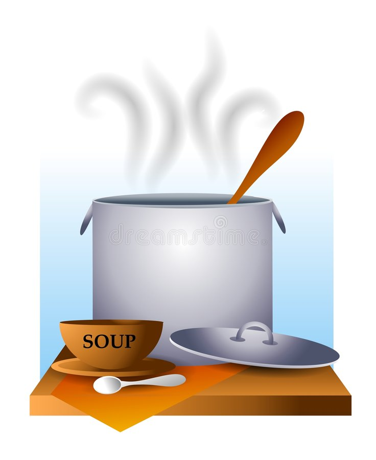 Suppe-Küche-Potenziometer und Schüssel stock abbildung
