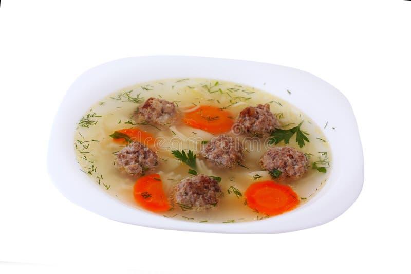 Suppe mit Fleischklöschen stockfoto