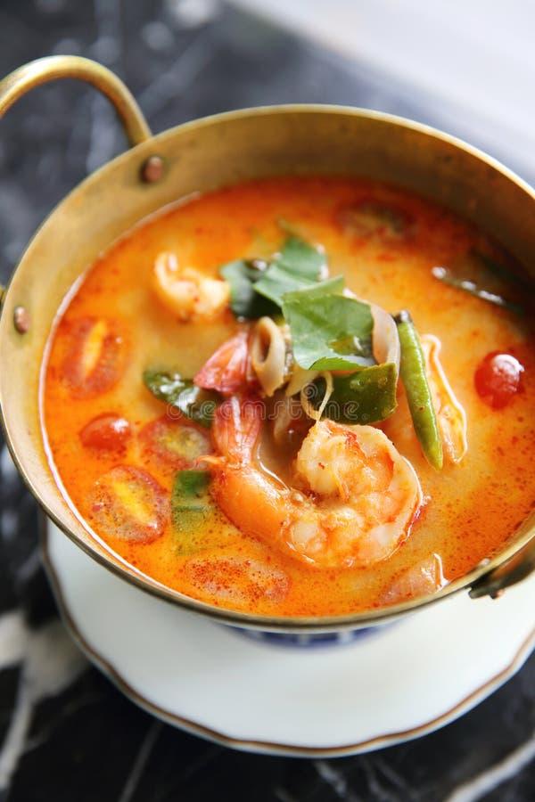 Suppe Shimp Tom yum, thailändisches Lebensmittel stockbild