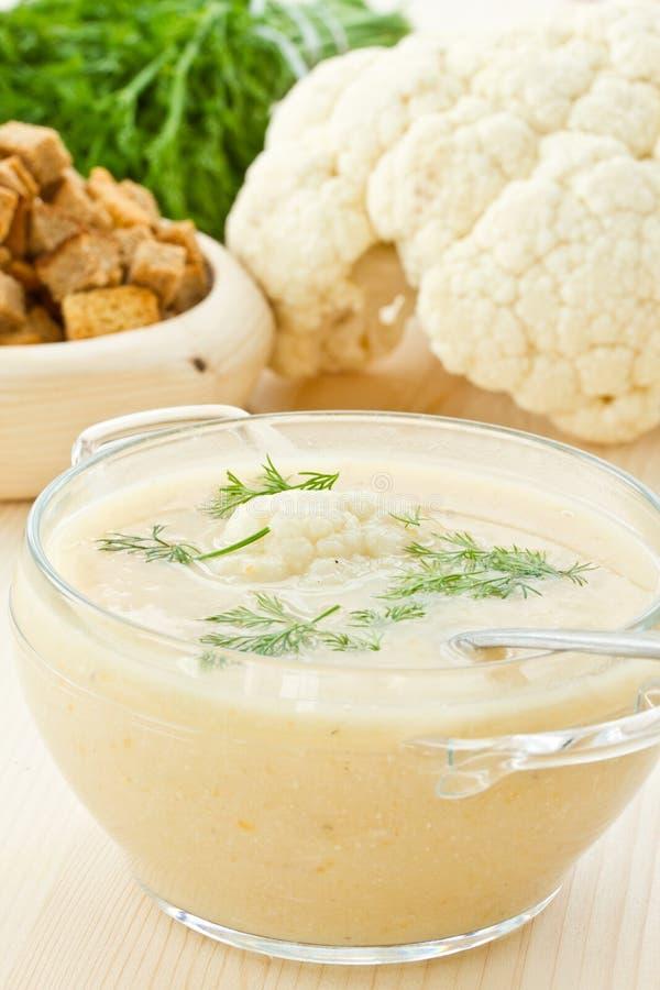 Suppen-Sahne des Blumenkohls stockbild