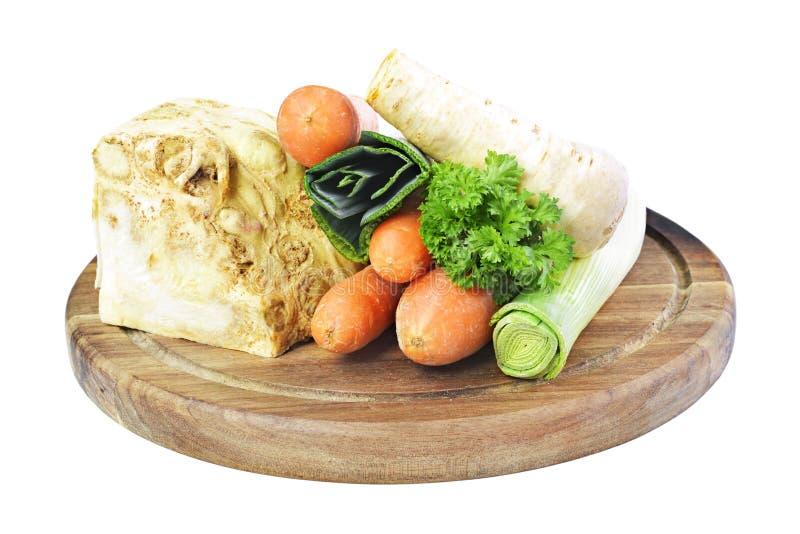 Suppenbestandteile, -sellerie, -petersilie, -porree und -karotten lizenzfreie stockbilder
