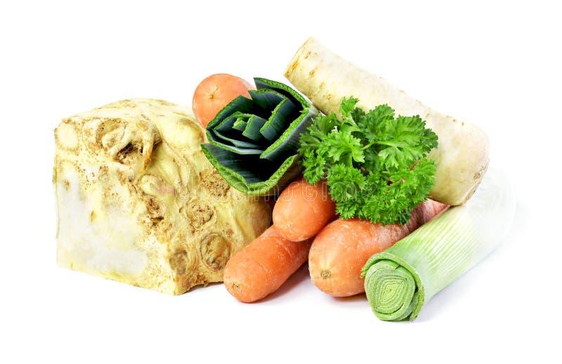 Suppenbestandteile, -sellerie, -petersilie, -porree und -karotten lizenzfreie stockfotografie