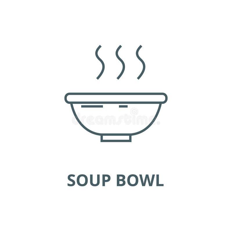 Suppenschüsselvektorlinie Ikone, lineares Konzept, Entwurfszeichen, Symbol lizenzfreie abbildung