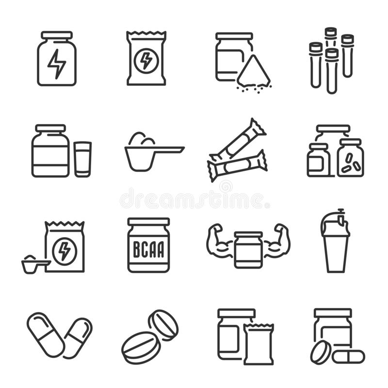 Suppléments de sports et ensemble d'icône de nourriture biologique illustration libre de droits