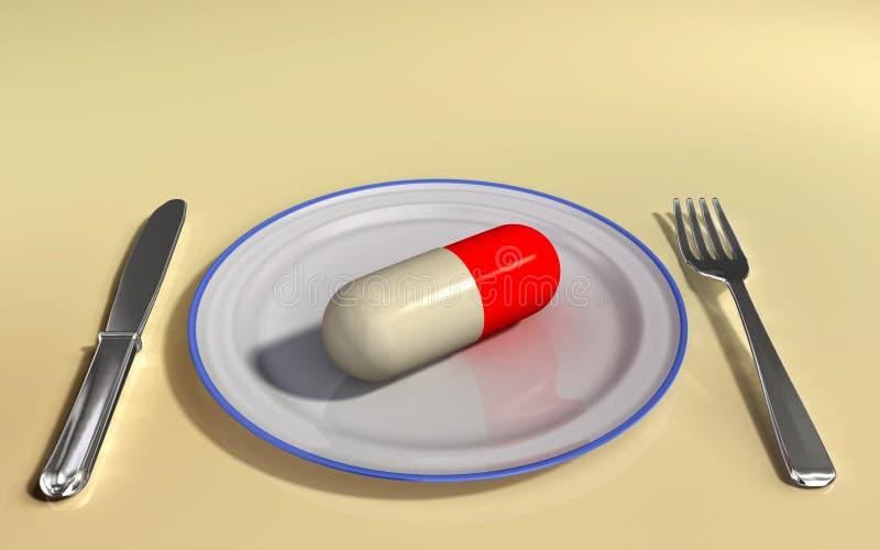 Supplement. Capsule on a plate. Digital illustration stock illustration