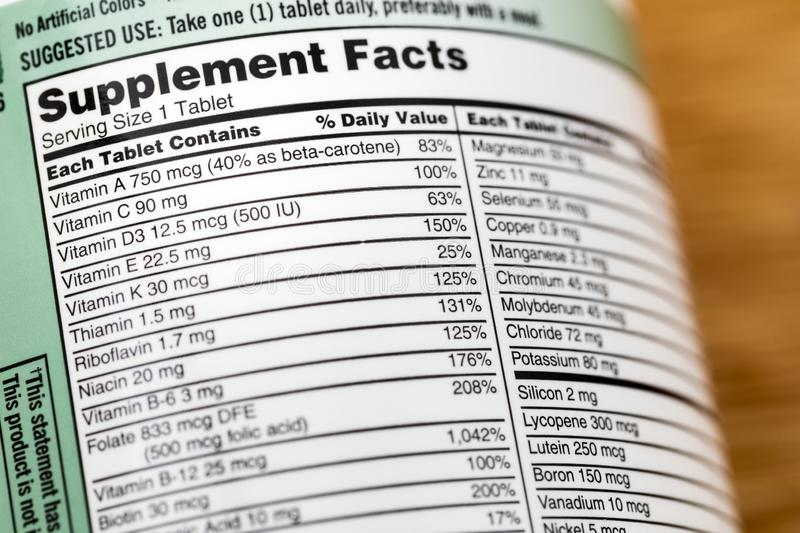Supplement facts vitamin list bottle label vitamins. Supplement facts on vitamin list bottle label.  Health supplements ingredients minerals and vitamins is stock image