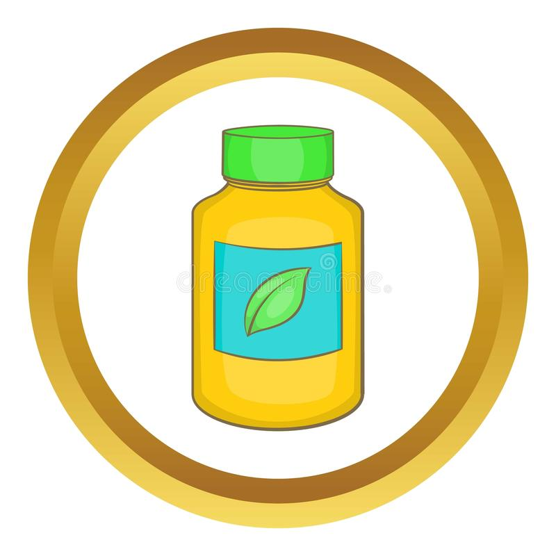 Supplement icon. In golden circle, cartoon style isolated on white background vector illustration