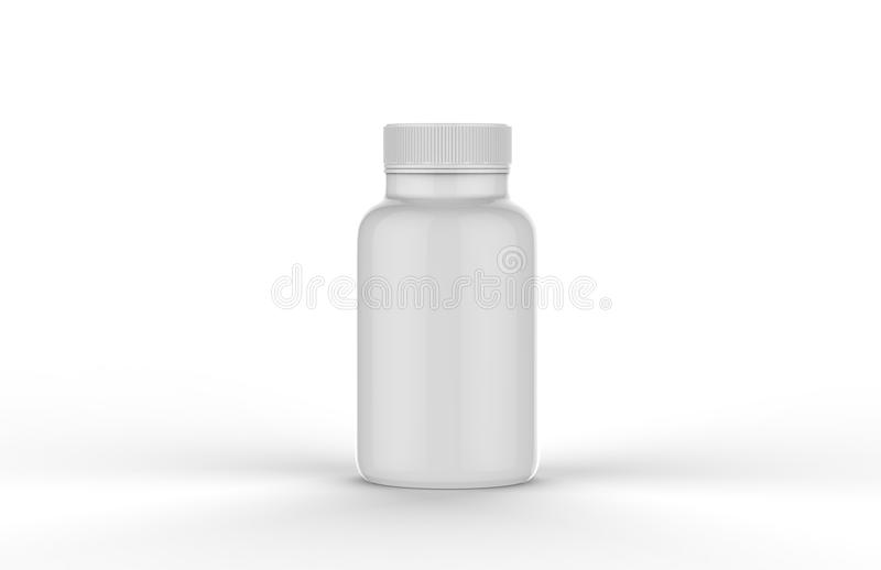 Supplement Jar With Box. Mock-up Template On Isolated White Background, Ready For Your Design Presentation, 3D Illustration royalty free illustration