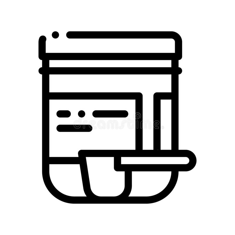 Supplements Bottle And Scoop Vector Thin Line Icon. Sportsman Plastic Container With Creatine Powder And Scoop Linear Pictogram. Dietary Protein Ingredient royalty free illustration