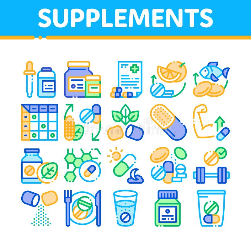 Supplements Collection Elements Icons Set Vector. Thin Line. Pills And Drugs, Plastic Container With Dropper Bio Healthcare Supplements Concept Linear vector illustration