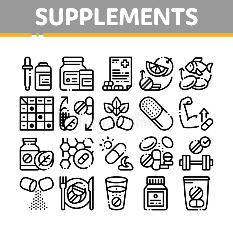 Supplements Collection Elements Icons Set Vector. Thin Line. Pills And Drugs, Plastic Container With Dropper Bio Healthcare Supplements Concept Linear royalty free illustration
