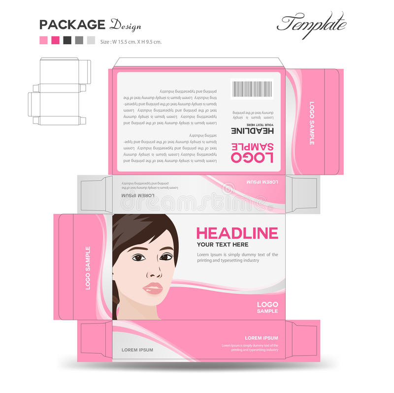 Supplements and Cosmetic box design. Package design,template,box outline,box template,Folding box stock illustration