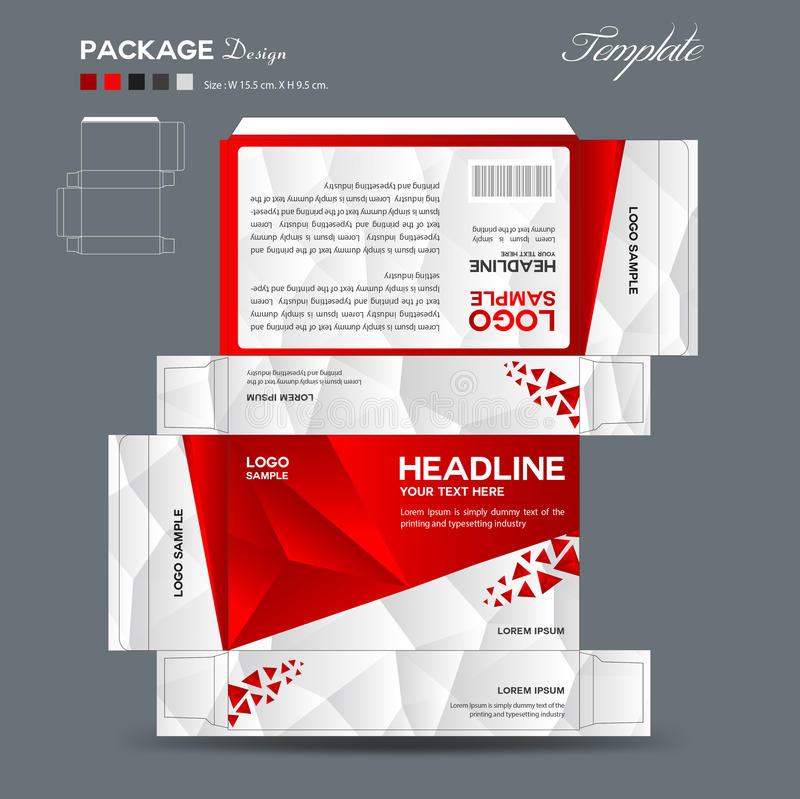 Supplements and Cosmetic box design, packaging design. Red polygon background royalty free illustration