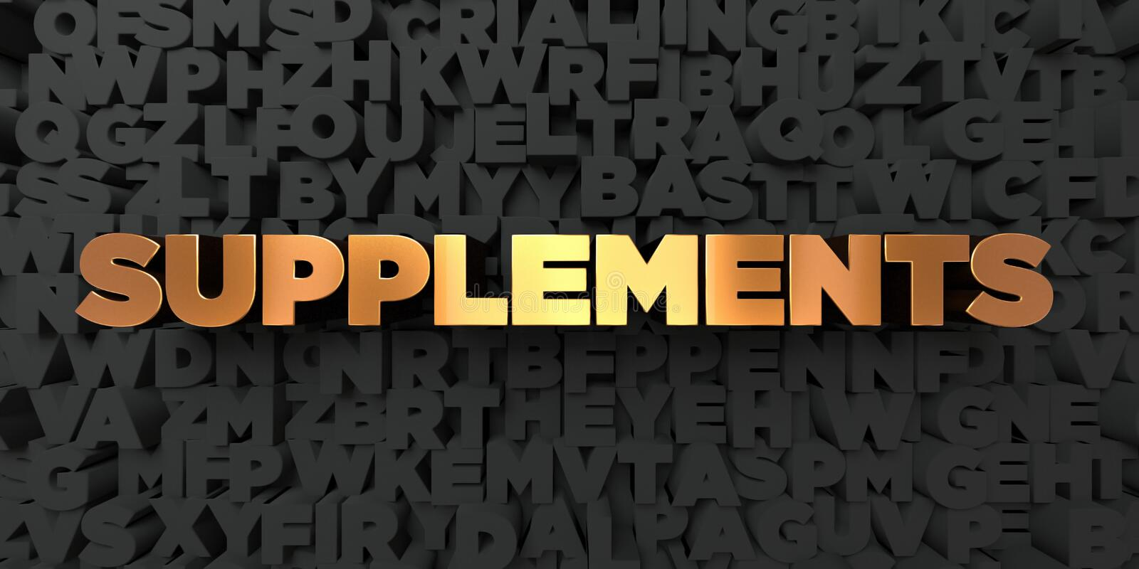 Supplements - Gold text on black background - 3D rendered royalty free stock picture. This image can be used for an online website banner ad or a print vector illustration