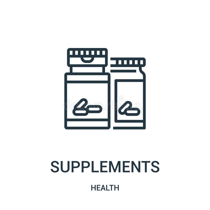 Supplements icon vector from health collection. Thin line supplements outline icon vector illustration. Linear symbol for use on. Web and mobile apps, logo royalty free illustration