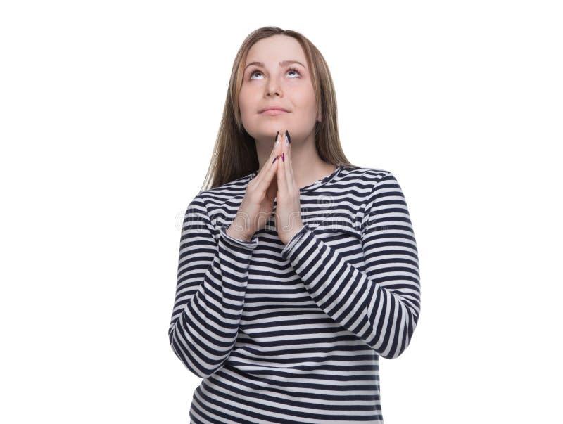 Supplica della giovane donna in vestito a strisce immagine stock libera da diritti