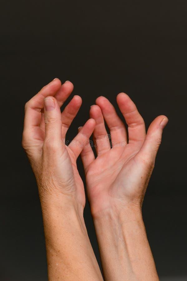 Supplica delle mani, primo piano fotografia stock