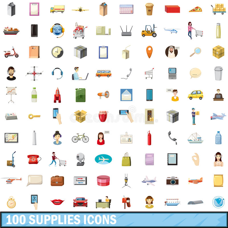 100 supplies icons set, cartoon style royalty free illustration