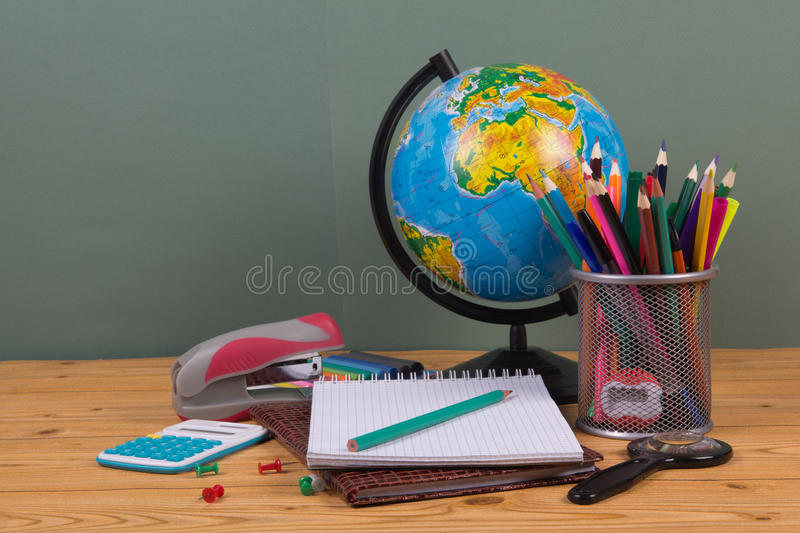Download Supplies for school stock image. Image of paper, globe - 33006763
