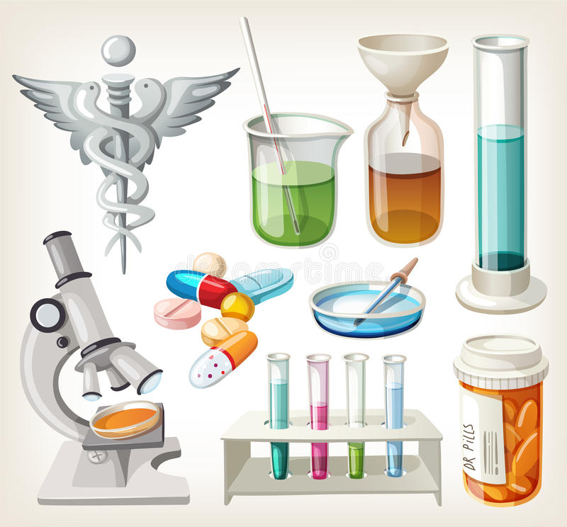 Supplies used in pharmacology for preparing medicine. Set of supplies used in pharmacology for preparing medicine royalty free illustration