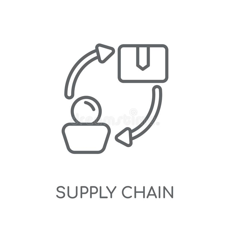 Supply chain linear icon. Modern outline Supply chain logo conce stock illustration