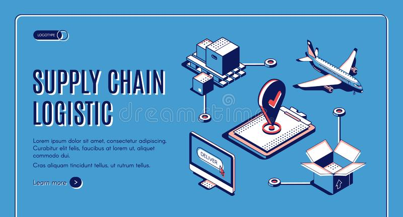 Supply chain logistic isometric web landing banner royalty free illustration