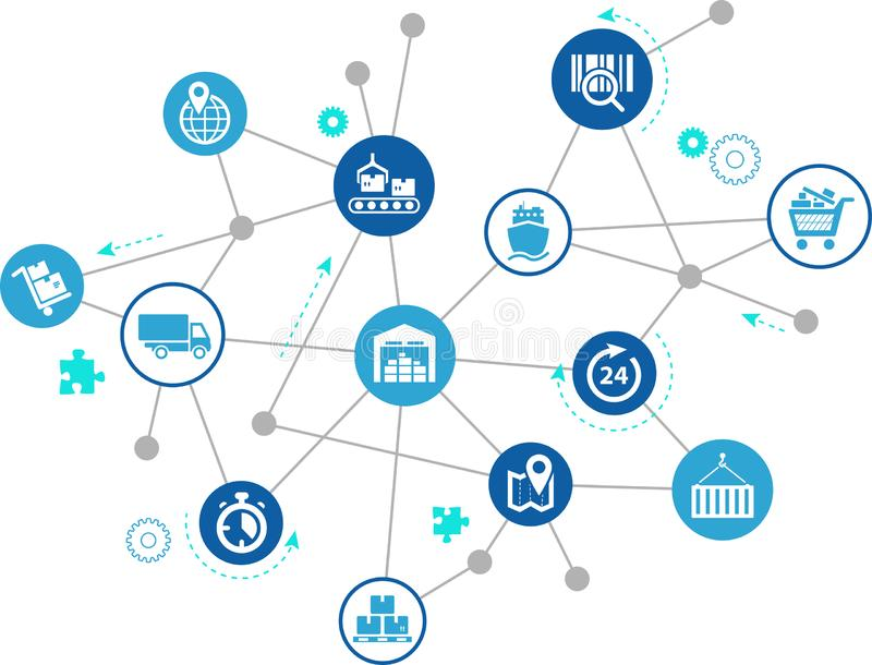Supply chain management concept - vector illustration. Abstract concept in blue/grey color with interconnected supply chain management icons vector illustration