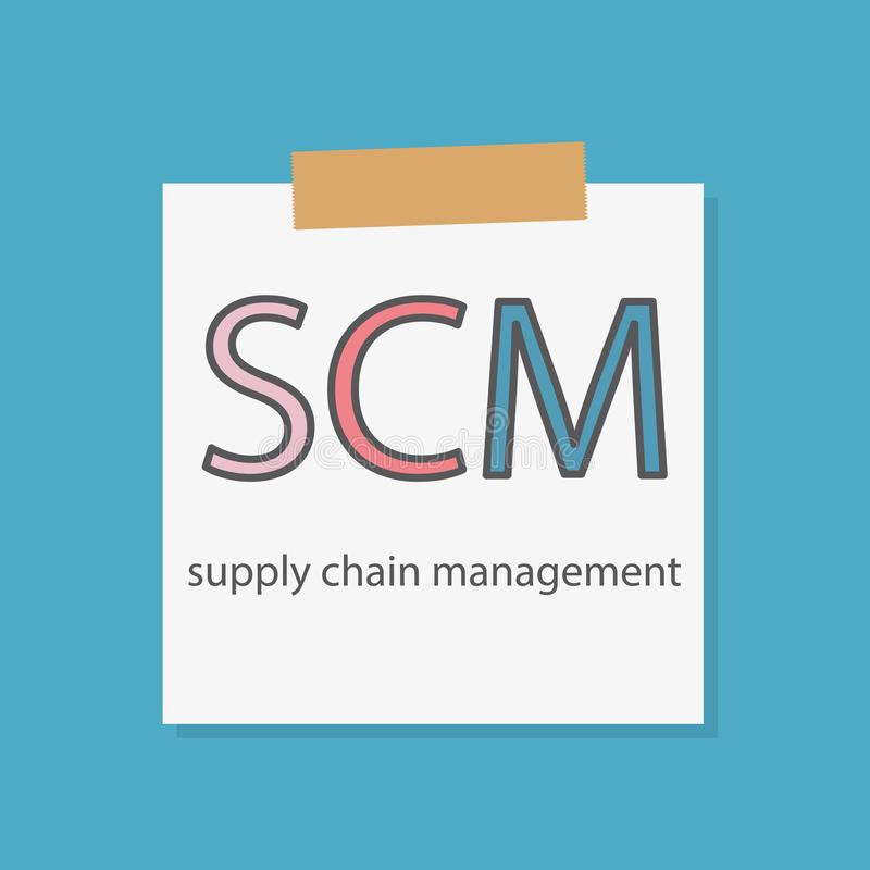 Supply chain management di SCM scritto in una carta del taccuino illustrazione vettoriale