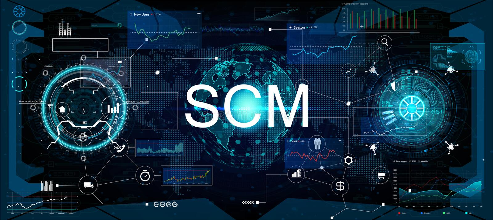Supply chain management SCM illustrazione di stock