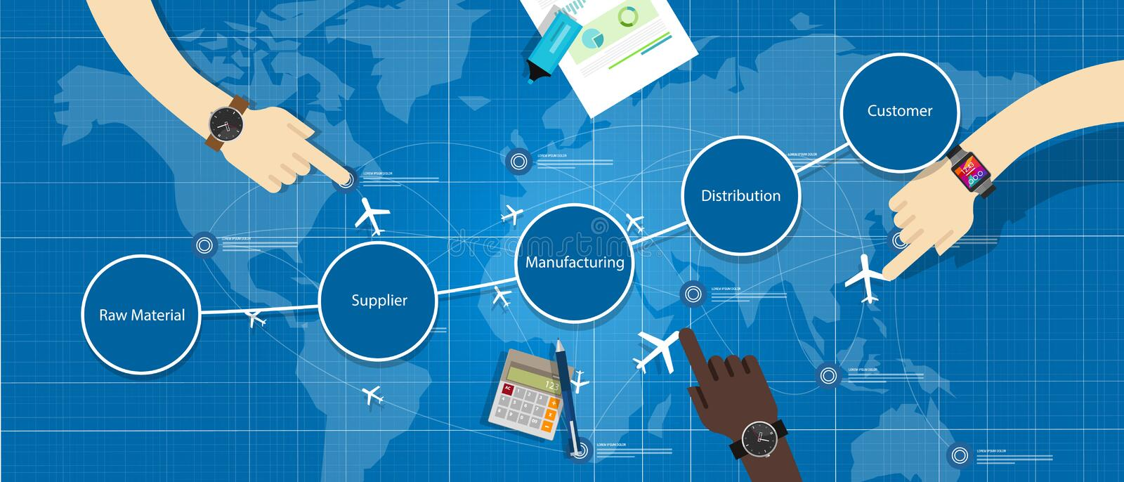 Supply chain management SCM royalty free illustration