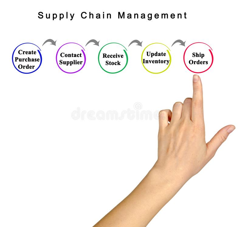Supply Chain Management. Components of Supply Chain Management stock photography