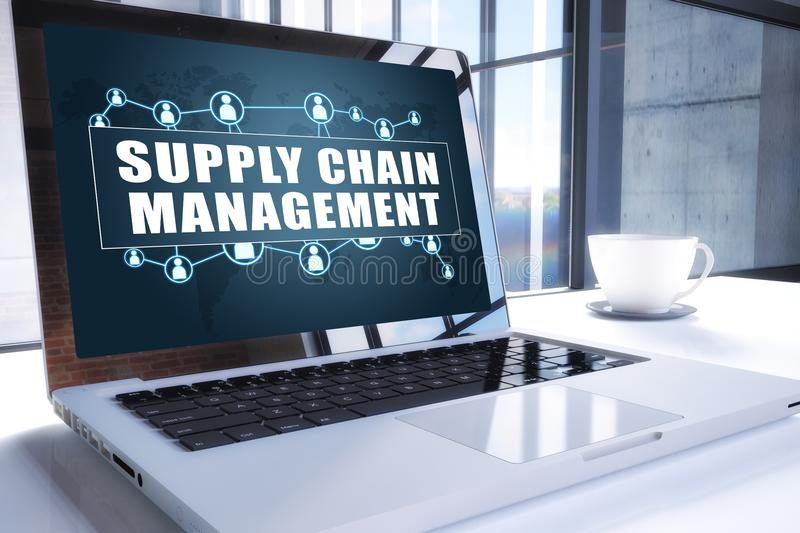 Supply Chain Management. Text on modern laptop screen in office environment. 3D render illustration business text concept. scm inventory product word royalty free illustration