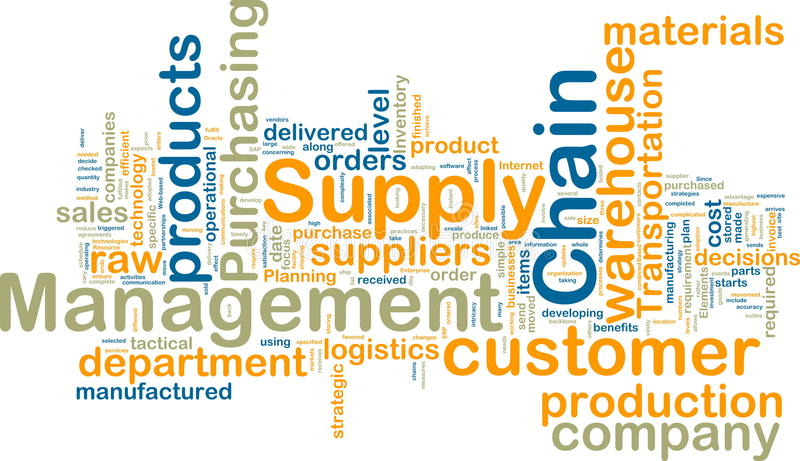 Supply chain management wordcloud stock illustration