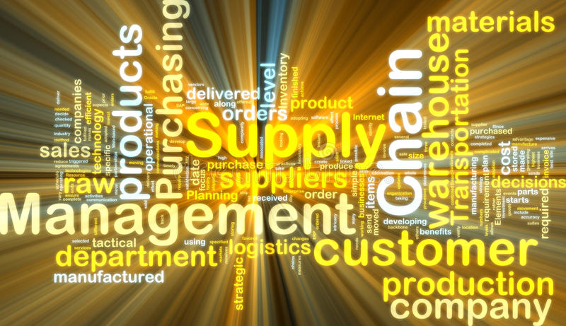 Supply chain management wordcloud glowing vector illustration