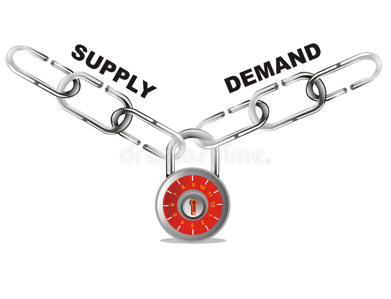 Supply and demand connect chain vector illustration