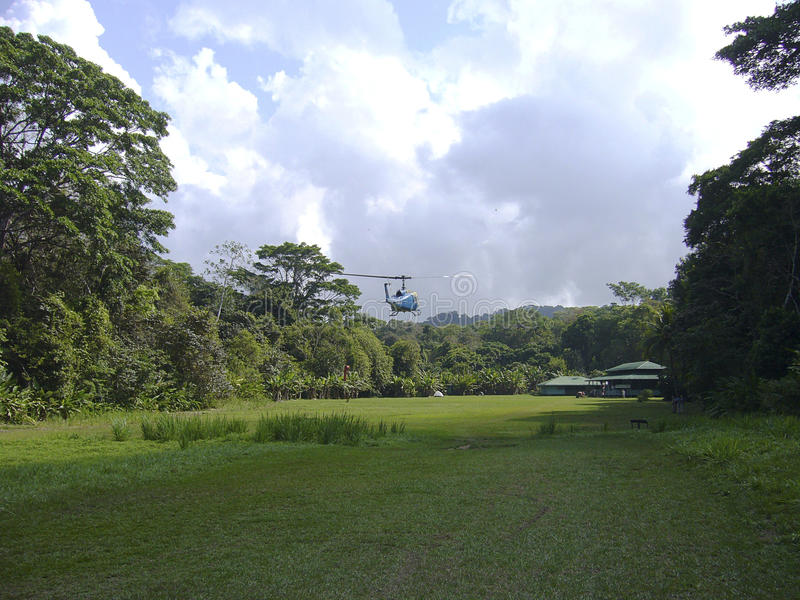 Supply of food by helicopter in the natural park corcovado. Costa rica america royalty free stock photography