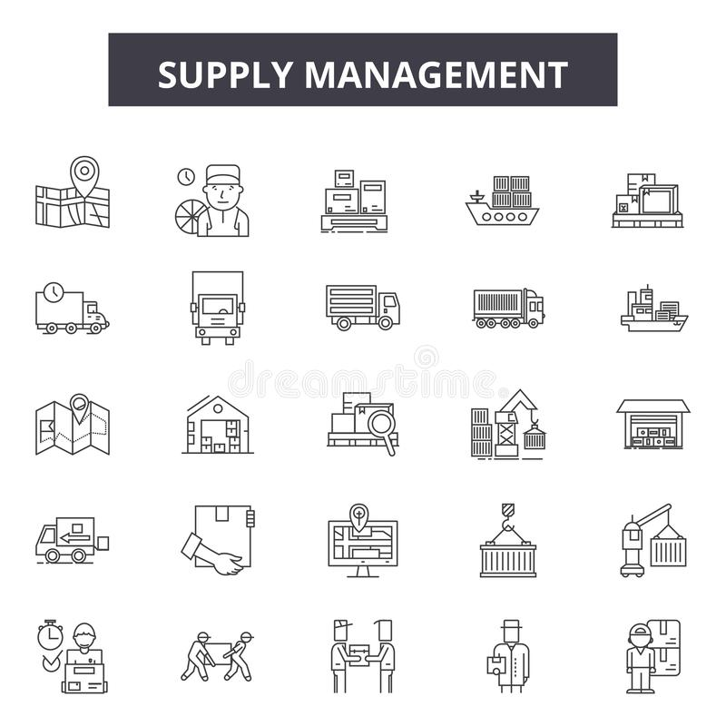 Supply management line icons, signs, vector set, outline illustration concept stock illustration