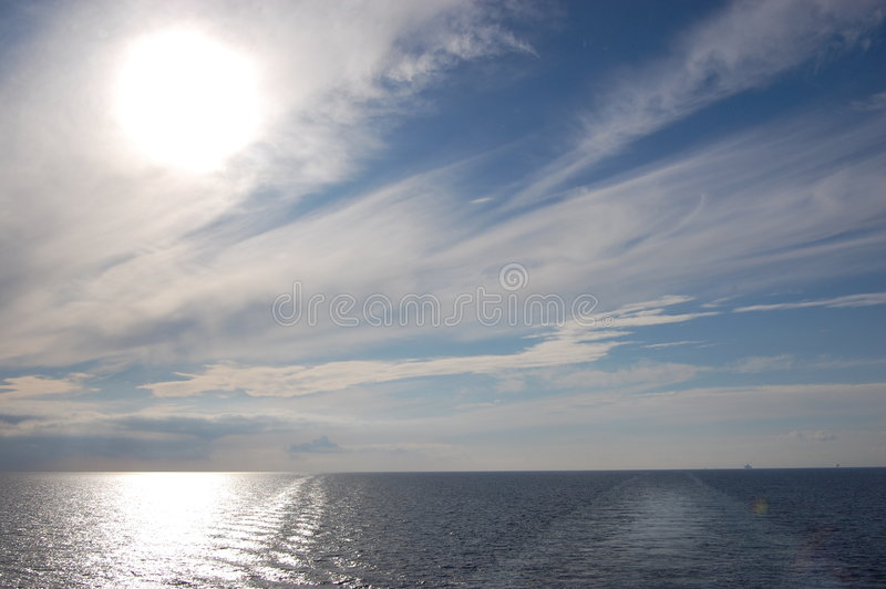 Supply vessel sailing in calm weather stock photo
