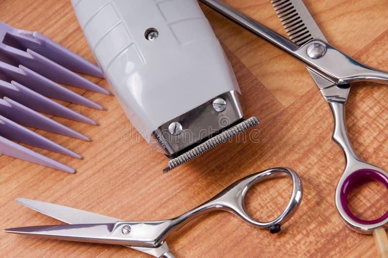 Supplys di taglio dei capelli fotografia stock libera da diritti